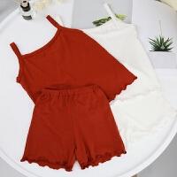 婴童装夏装新款女童套装家居服儿童吊带背心短裤女宝宝婴儿睡衣