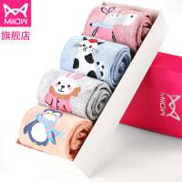 4双装猫人纯棉袜子女士保暖袜韩版学院风可爱卡通中筒袜吸汗棉袜