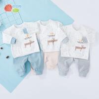 贝贝怡婴幼儿宝宝内衣套装新款打底纯棉绑带上衣裤子2件套193T387