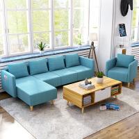 布艺沙发组合 客厅北欧沙发小户型三人位转角棉麻沙发双人位组合