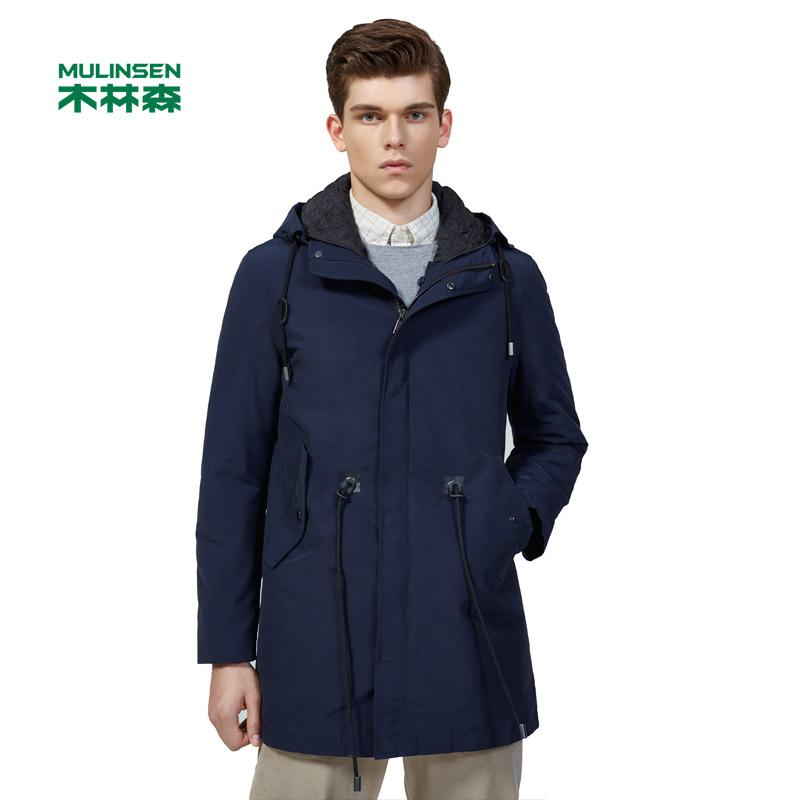 木林森男装 2017冬季新款男士连帽修身纯色时尚中长外套 日常时尚夹克11371602