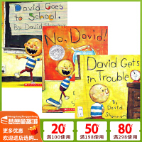 英文原版绘本3 6岁 国外经典进口 No David 大卫不可以绘本系列全套3册 吴敏兰英文书单 David Gets in Trouble  David Goes to School