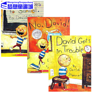 #英文原版绘本3 6岁 国外经典进口 No David 大卫不可以绘本系列全套3册 吴敏兰英文书单 David Gets in Trouble  David Goes to School