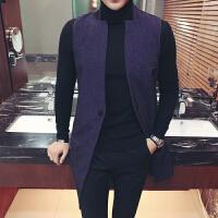 新款发型师夜店酒吧男士韩版修身中长款风衣马甲外套男装秋季个性