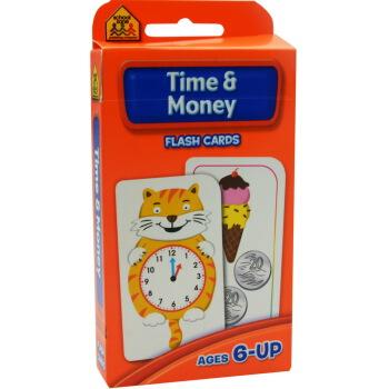 【时间金钱】School Zone Flash Cards Time Money 英文原版 儿童早教入学准备 字卡闪卡 时间与金钱