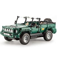 男孩10岁儿童拼装玩具遥控积木电动军事阅兵车军卡越野车