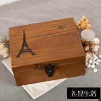 可放1000只千纸鹤成品的木盒 520纸鹤复古法文锁盒 1314星星盒子礼物 32*23*12大号 铁塔木色