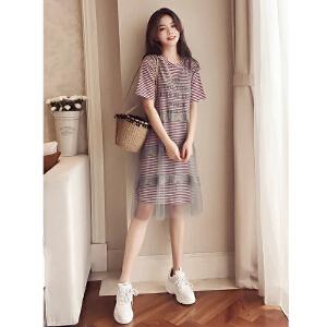 哆哆何伊2018春夏装新款韩版中长款短袖条纹T恤裙女宽松两件套网纱连衣裙
