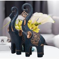 大象摆件一对招财风水象工艺品乔迁礼品欧式家居装饰品电视柜摆设