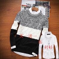 秋季新款男士毛衣圆领韩版线衣潮流长袖针织衫外套秋装毛衫上衣服