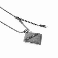 复古项链男女欧美潮牌吊坠个性学生字母情侣毛衣链钛钢送男友饰品 古银色 链长60+5cm