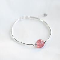 S925银粉水晶草莓晶月光石手链极细女可爱手镯转运珠 草莓晶手链