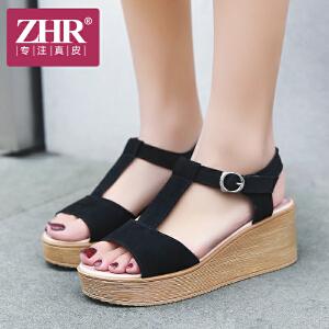 ZHR2018夏季新款韩版百搭真皮凉鞋女学生平底休闲鞋坡跟厚底女鞋Z21