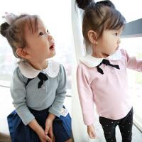 女童长袖T恤 秋装童装蝴蝶结打底衫上衣潮 后背小猫咪