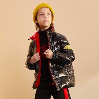 巴拉巴拉旗下巴帝巴帝19年冬潮酷儿童连帽羽绒服男童撞色短款保暖外套