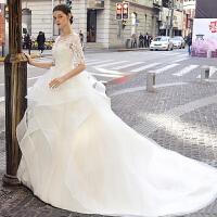 一字肩婚纱2018新款欧美2018公主梦幻宫廷齐地新娘结婚冬季韩版轻