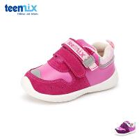 天美意teenmix童鞋18冬季新款婴童时尚亮色拼接运动鞋儿童绒面耐磨休闲鞋宝宝户外鞋轻盈加绒学步鞋(0-4岁可选) DX7421
