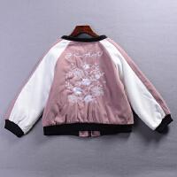 A@6 1.1斤2018新韩版立领拼色女式刺绣毛呢外套