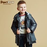 【3件2折 到手价:380】Pawinpaw宝英宝小熊童装冬男童中长款羽绒服中大童连帽厚外套