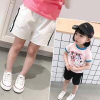 女童夏季时尚短裤新款宝宝侧边条休闲裤儿童洋气运动裤子童装