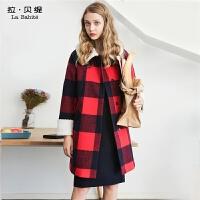 羊毛呢子大衣2018秋冬季新款韩版原宿学生中长款复古格子外套潮女
