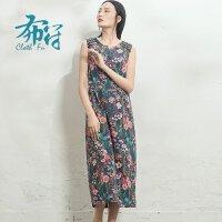 布符原创2018新款女装春装拼接无袖印花中长款过膝显瘦复古连衣裙