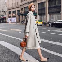 法国小众零羊绒毛呢外套女2018秋冬新款网红双面呢子大衣YJ180109