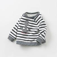 [2件3折价:86.1]戴维贝拉春季新款男童条纹T恤宝宝套头上衣DB10165
