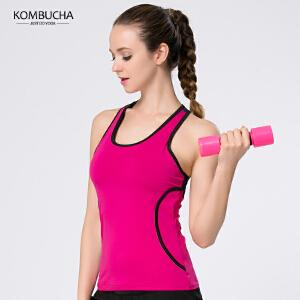 【限时特惠】KOMBUCHA瑜伽背心2018新款女士拼纱镂空美背速干透气背心跑步健身运动背心含胸垫K0091