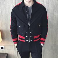 新款秋天外套男日系修身休闲夹克青少年撞色翻领短款拉链男装潮上