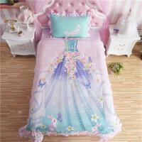 儿童四件套女孩公主风韩式棉1.2m1.5m床单人三件套床上用品 粉红色 花仙子