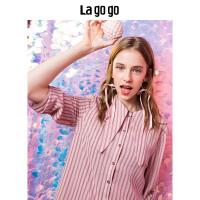 【5折价169.5】Lagogo/拉谷谷2018秋夏季新款时尚条纹七分短袖百褶连衣裙女HCLL427A44