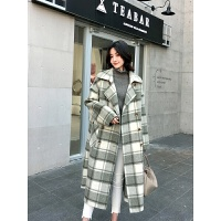 冬季韩版高端双面羊绒大衣女中长款2018流行格子宽松羊毛大衣 18306