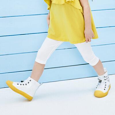 【满200减130】迷你巴拉巴拉女童打底裤2019夏装新品儿童女宝宝条纹薄款安全裤