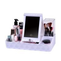 化妆镜带灯 便携式宿舍美妆镜子LED多功能收纳盒台式镜子 梳妆镜台灯 SN6628