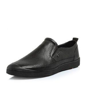 BASTO/百思图2018夏季专柜同款软面牛皮镂空平跟男休闲鞋BSK05BM8