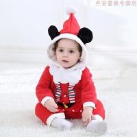 初生婴儿秋装爬爬服连体衣0-1岁婴幼儿衣服圣诞老人男女宝宝哈衣