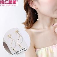 韩国个性简约细长纽纹仿珍珠耳钉气质长款耳环无耳洞耳夹女耳饰品