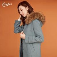 羊毛呢大衣毛领外套女士2018冬装新款韩版气质呢子中长款连帽