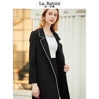 拉夏贝尔拉贝缇风衣女中长款新款女装韩版时尚休闲百搭毛呢外套