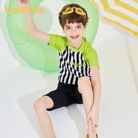 【品类日2件6折】巴拉巴拉儿童泳衣套装男童泳裤中大童男孩青少年分体游泳泳帽时尚夏