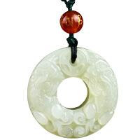 貔貅玉石挂件女士情侣项链饰品和田玉貔貅平安扣吊坠