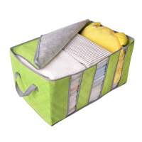 三格竹炭折叠收纳箱 可视窗衣物整理箱 无纺布毛衣百纳储物箱65L 可视收纳盒 有盖视窗装衣服的箱子
