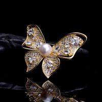 银鎏金淡水珍珠蝴蝶胸针别针胸花首饰饰品女款饰品