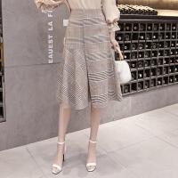 2018春夏季新款女韩版高腰格子不规则半身裙中长款百褶包臀长裙