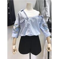 大码女装胖妹妹胖MM套装女宽松假两件条纹刺绣衬衫+高腰阔腿短裤 蓝色衬衫+