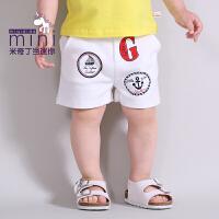 米奇丁当迷你男幼童夏季新款休闲趣味字母短裤
