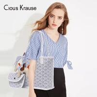Clous KrauseCK2019新款狗牙包女包手提手拎托特包子母包购物袋中包(随机赠小马挂饰)