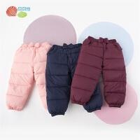 贝贝怡女童洋气羽绒裤冬装新款宝宝甜美加厚防风保暖外出长裤194K481