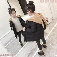 童装女冬装棉衣2018新款儿童时髦羽绒中长款女孩洋气女童外套